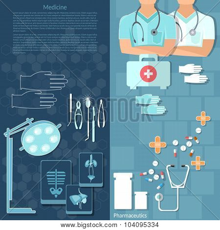 Medicine Doctors In A Hospital Intern Medical Care Surgery X-ray Medical Instruments Vector Banners
