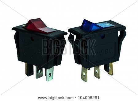 12V Dc Switch  On White Background