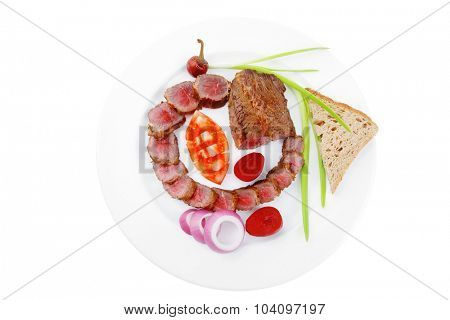 meat food : bbq meat served on white plate with tomatoes , sprouts and bread isolated on white background