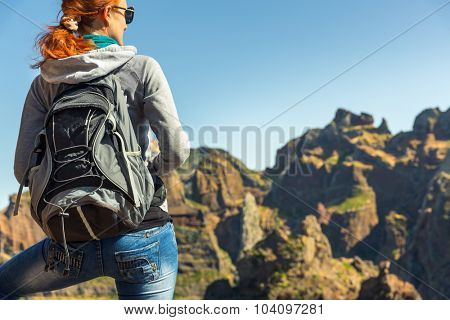 Young girl in mountains