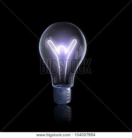 Light bulb shiny rendered on black bakground