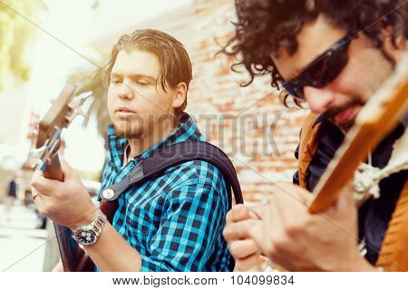 Band of musicians playing in the street