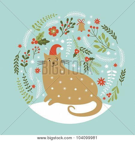 Cute cat in red hat, Christmas vector illustration, Christmas card