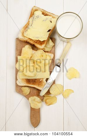 Toast Bread With A Slice Of Mild Irish Cheddar