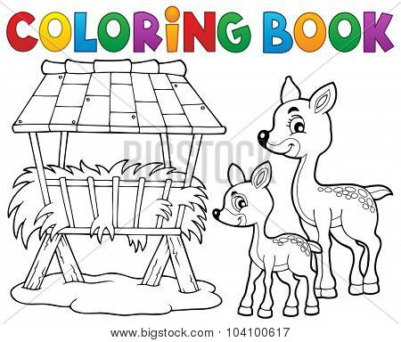 Coloring book deer theme 3 - eps10 vector illustration.
