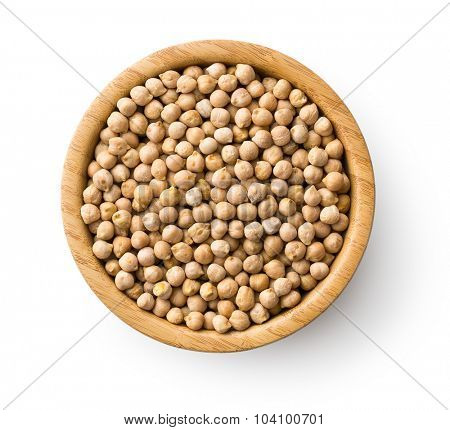 uncooked chickpeas in wooden bowl