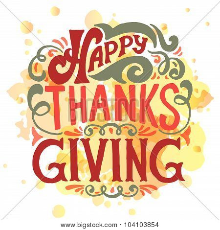 Happy Thanksgiving Icon, Logo Or Badge
