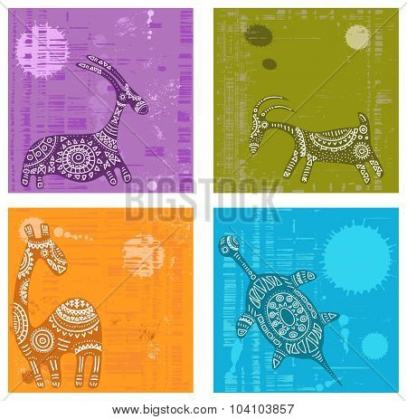 Set of vector backgrounds with grunge texture and African traditional patterns with animals