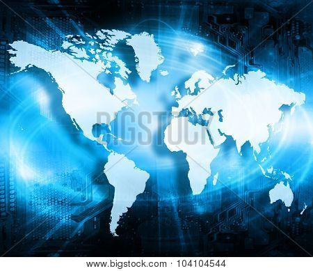 World map on a technological background, glowing lines symbols of the Internet, radio, television, mobile and satellite communications. Internet Concept of global business