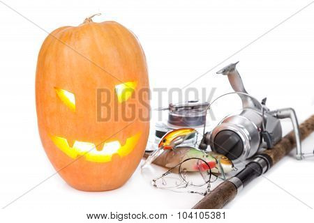 Halloween Pumpkin With Fishing Tackles On White