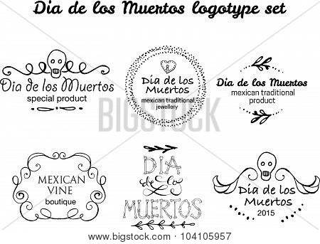 Day Of The Dead Vector Logotype Set