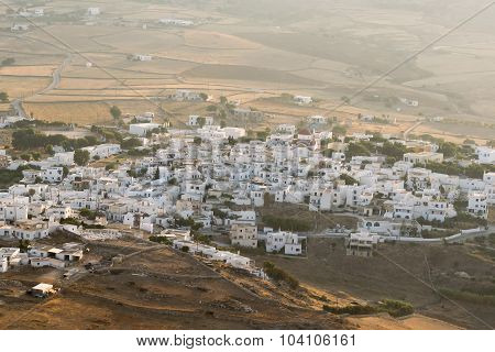 View of local village in Paros island in Greece. Beautiful view from top of a mountain.