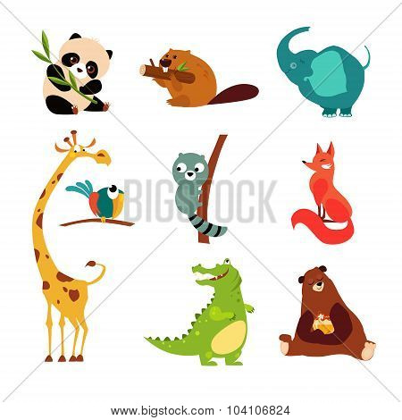 Cute Wild Animal Set of Vector Illustration