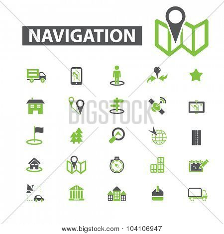 map, navigation icons