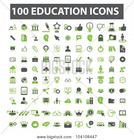 100 education, learning, study icons
