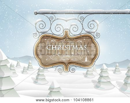 Board with Christmas greeting vector illustration.