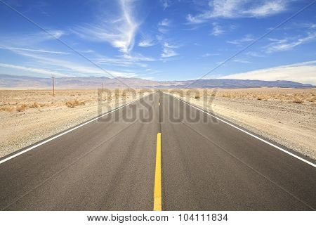 Endless Country Highway In Death Valley, Travel Concept, Usa.