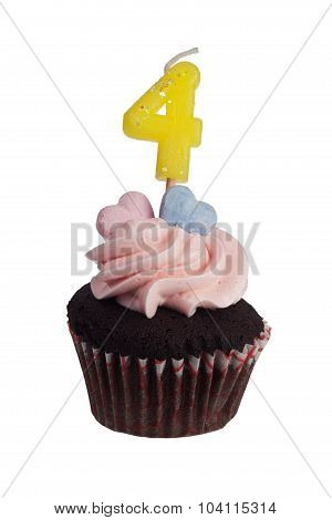 Mini Cupcake With Number Four Candle