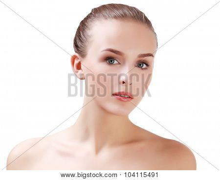 Pretty woman on white background