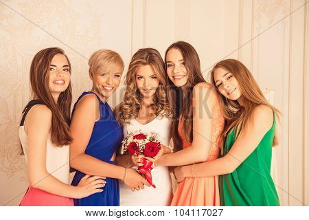 Happy Girls Celebrate A Bachelorette Party Of Bride