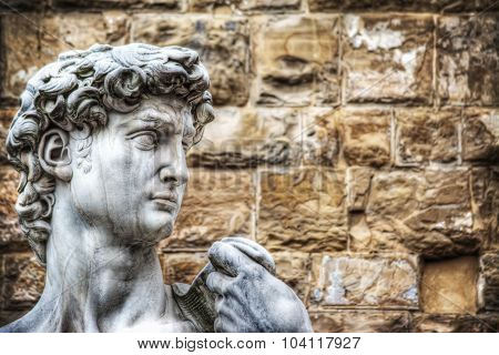 Close Up Of Michelangelo's David Head In Florence