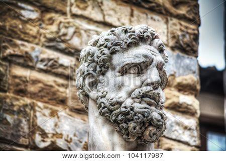 Hercules Head In Piazza Della Signoria In Florence