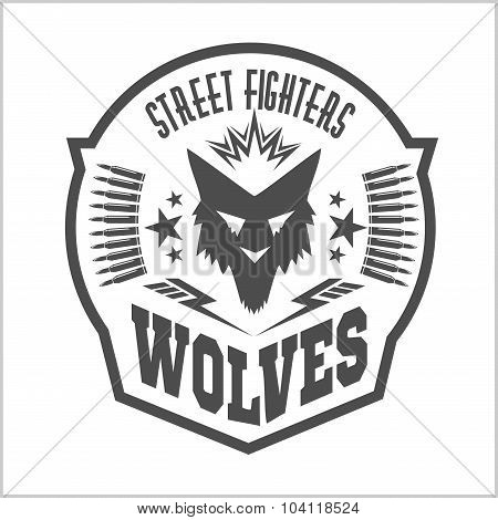 Street fight club with wolf and inscriptions.