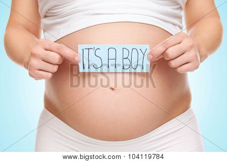 Pregnant Woman Expecting A Baby Boy