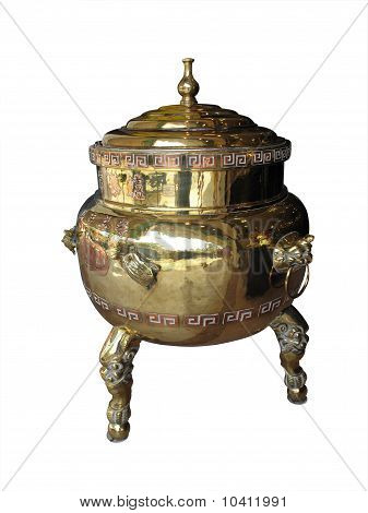 Chinese Brass And Copper Tea Urn