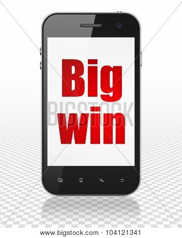 Business concept: Smartphone with Big Win on display