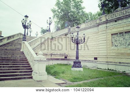 Lamppost And Stairs In Montagnola Park In Bologna