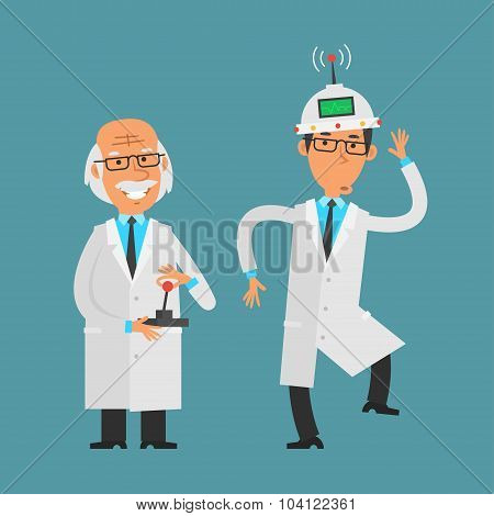 Old scientist manages his assistant using joystick