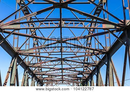Steel Beams On Bridge.