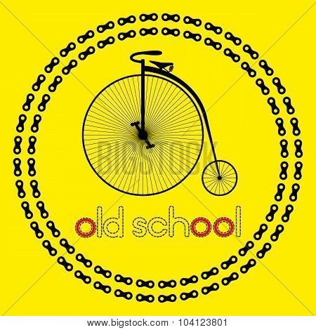 Penny farting bike icon (logo or label) with text Old school. Isolated Black Silhouette of bicycle i