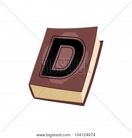 Letter D On E Cover Of  Book. Old Edition With Alphabetical Icon. Concept Of Template Elements Abc