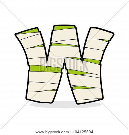Letter W Mummy. Typography Icon In Bandages. Horrible Egyptian Elements Template Zombies Alphabet. A