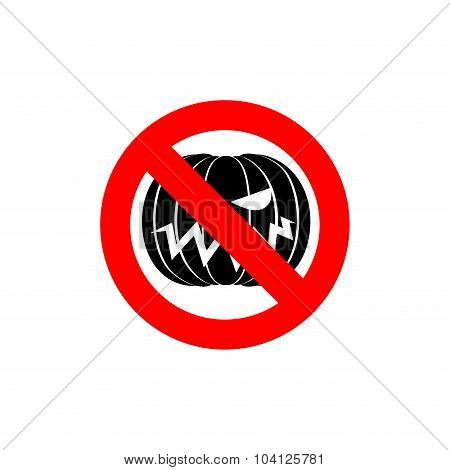Stop Halloween. It Is Forbidden To Celebrate The Dreaded Holiday. Frozen Pumpkin. Red Forbidden Sign
