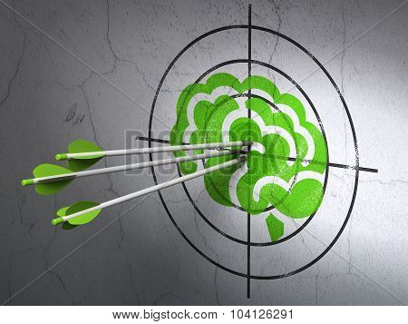 Science concept: arrows in Brain target on wall background