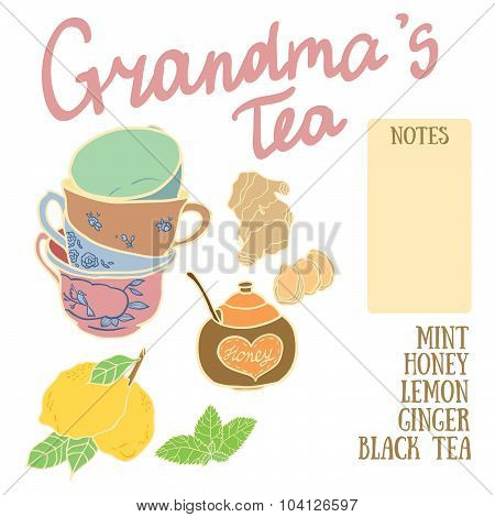 Delicious autumn grandma's tea recipe with lemon, honey, ginger and mint