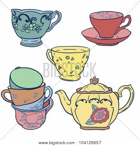Vector set with teapots and teacups.
