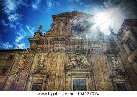 San Michele And Gaetano Church Under A Shining Sun In Florence