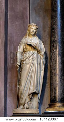 LJUBLJANA, SLOVENIA - JUNE 30: Saint Lucia, statue on the altar in the St Nicholas Cathedral in Ljubljana, Slovenia on June 30, 2015