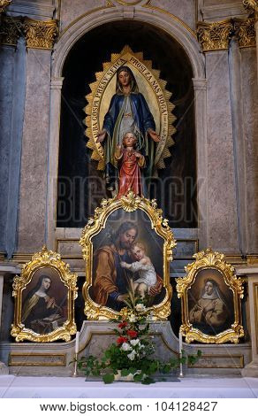 LJUBLJANA, SLOVENIA - JUNE 30: Altar of the Virgin Mary in the St Nicholas Cathedral in Ljubljana, Slovenia on June 30, 2015