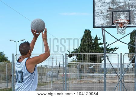 Close Up Of A Basketball Player