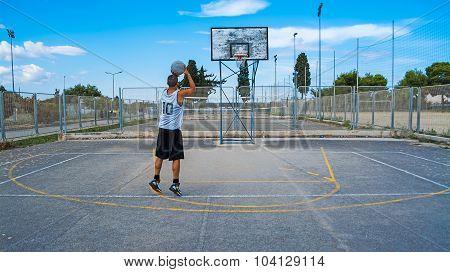 Basketball Player Practicing Jump Shot