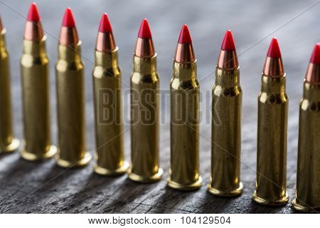 Cartridges ranked with red tip