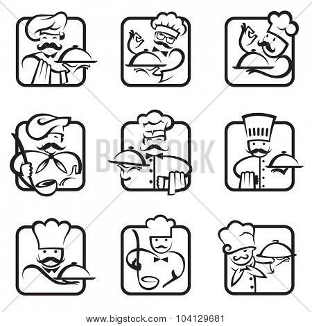 monochrome collection of nine chef icons