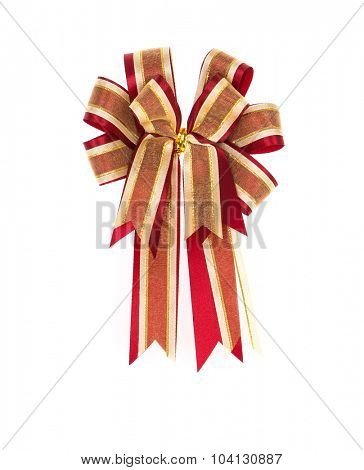 Shiny red ribbon on white background with copy space.