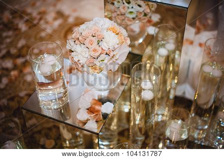 Wedding Table Decoration, Flowers In Vase.