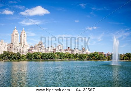 NEW YORK CITY, USA - CIRCA SEPTEMBER 2014: Jacqueline Kennedy Onassis Reservoir in Central Park New York City
